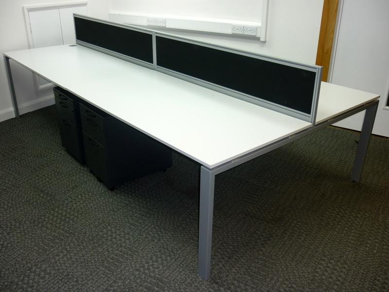 1600w x 800d mm white bench desking