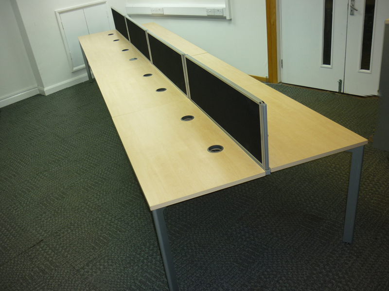 1200w x 600d mm Sven maple 8 person space saving bench desk