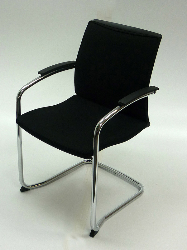 Black fabric Sedus Open UP stackable meeting chair