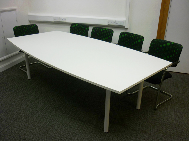 2400w x1200/1000d mm white barrel shaped meeting table