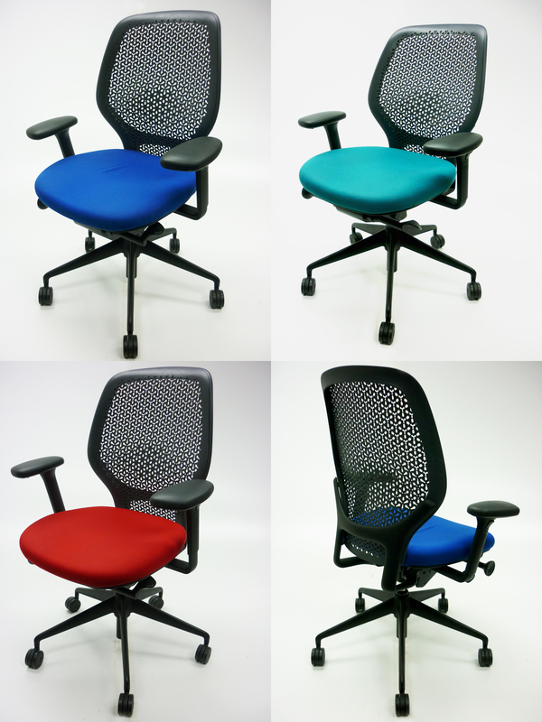 Orangebox ARA task chair with arms in blue, red or green