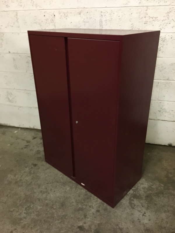1325mm high burgundy double door metal cupboard