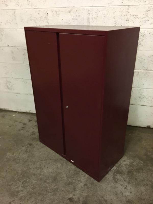1325mm high burgundy double door metal cupboard