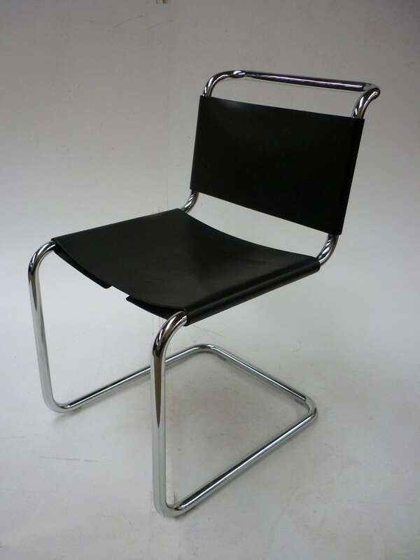 Black saddle leather cantilever chair