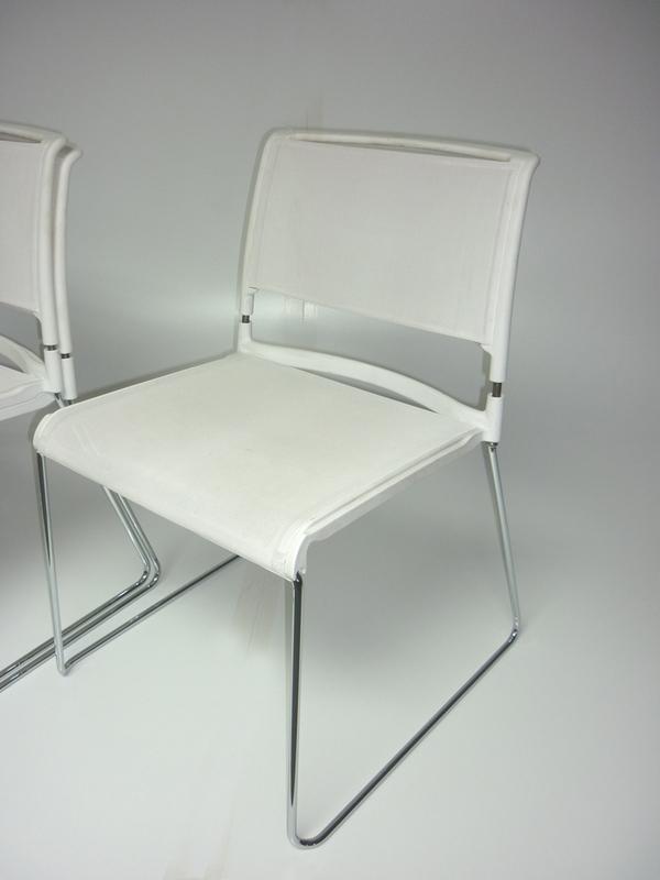 Wilkhahn white mesh stacking chairs