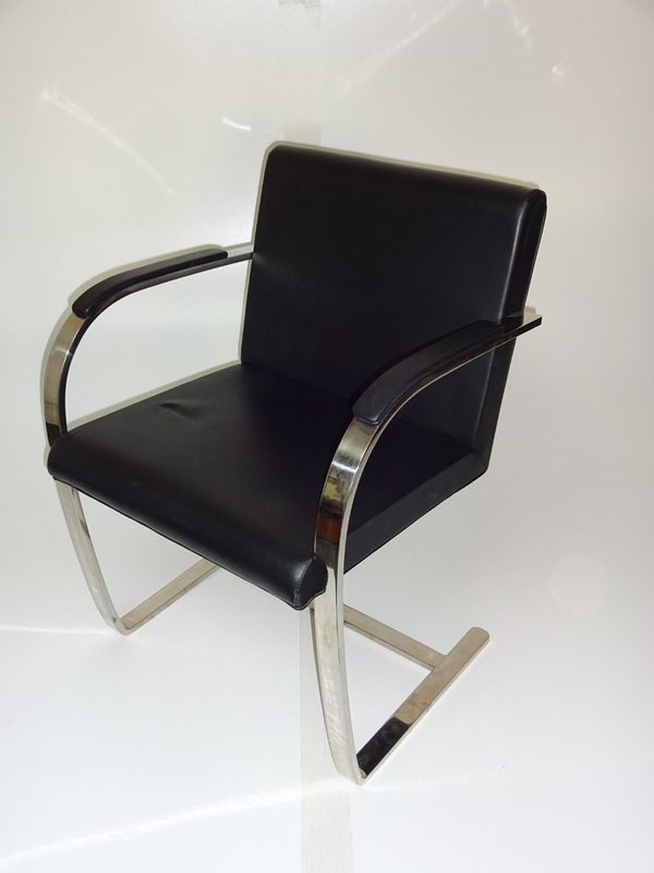 Knoll Brno black leather cantilever meeting chairs