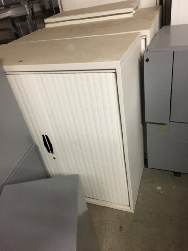 1300mm high white tambour cupboard