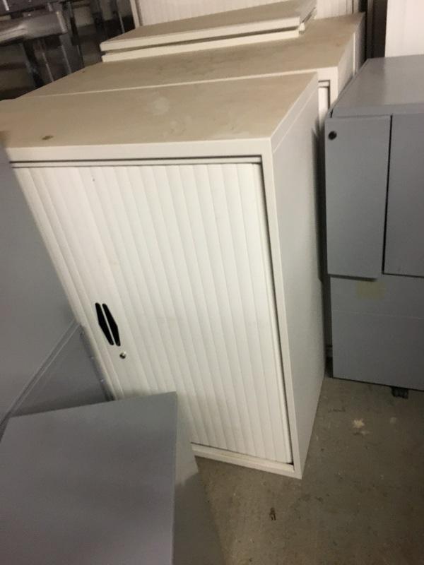 1200mm high white tambour cupboard