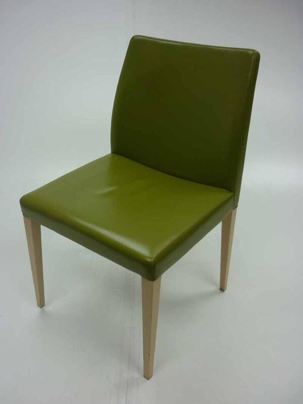 Green leather Poltrona Frau Liz chairs