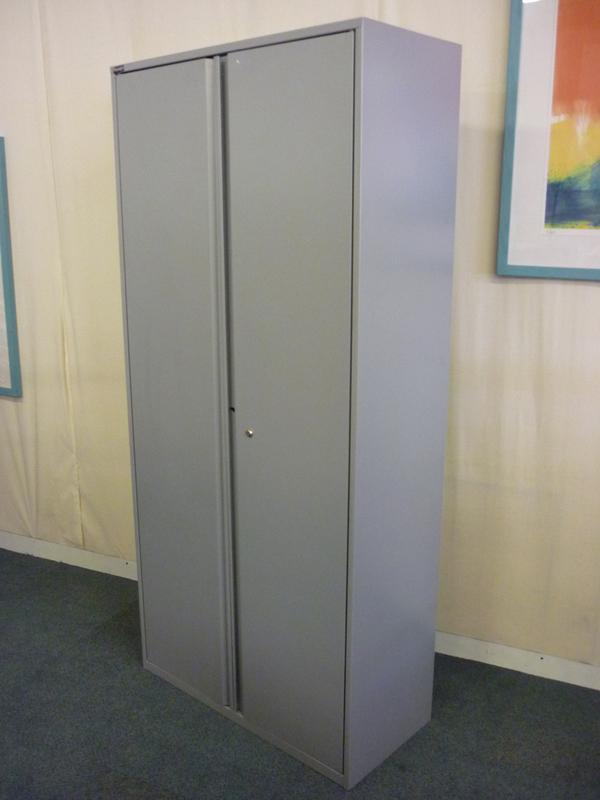 Light grey 1950mm high double door cupboards