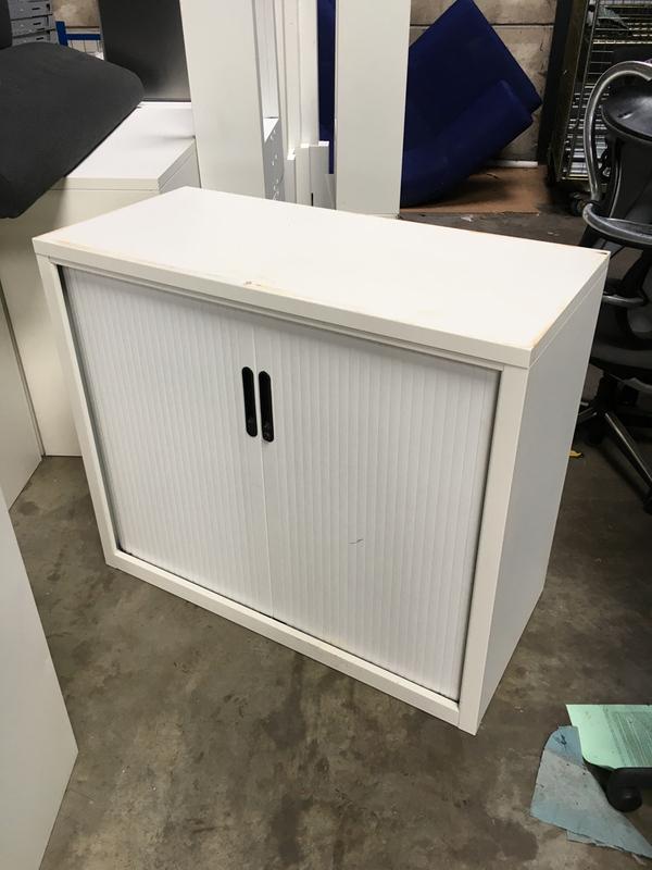 850mm high white metal tambour cupboard