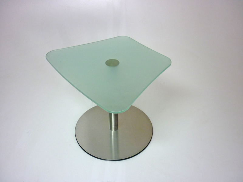 Frosted glass trapezoidal coffee table