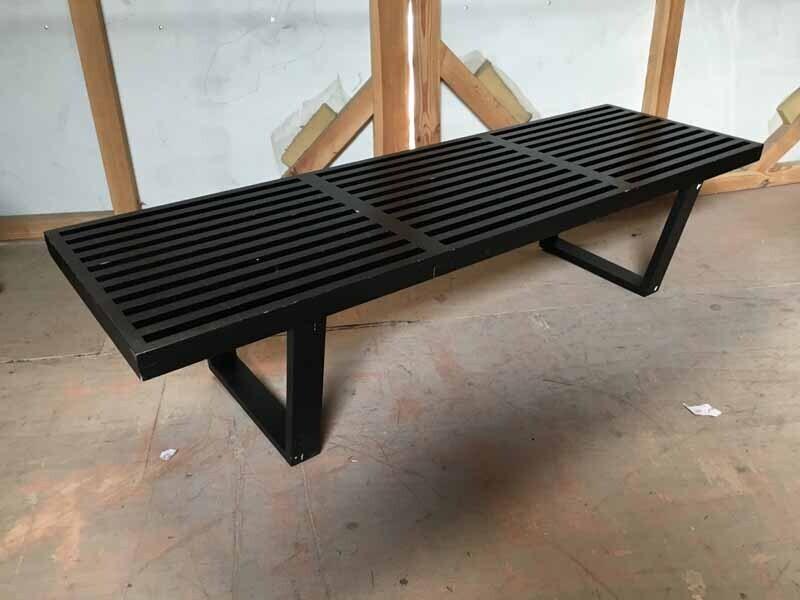 Black slatted wood coffee table
