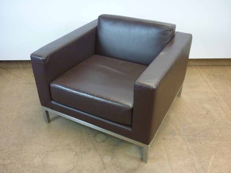Brown leather arm chair