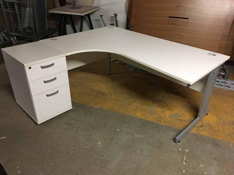 White left hand 1800x1200mm radial desk and pedestal