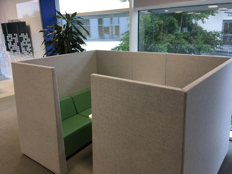 Greyblue or green acoustic sofa pods