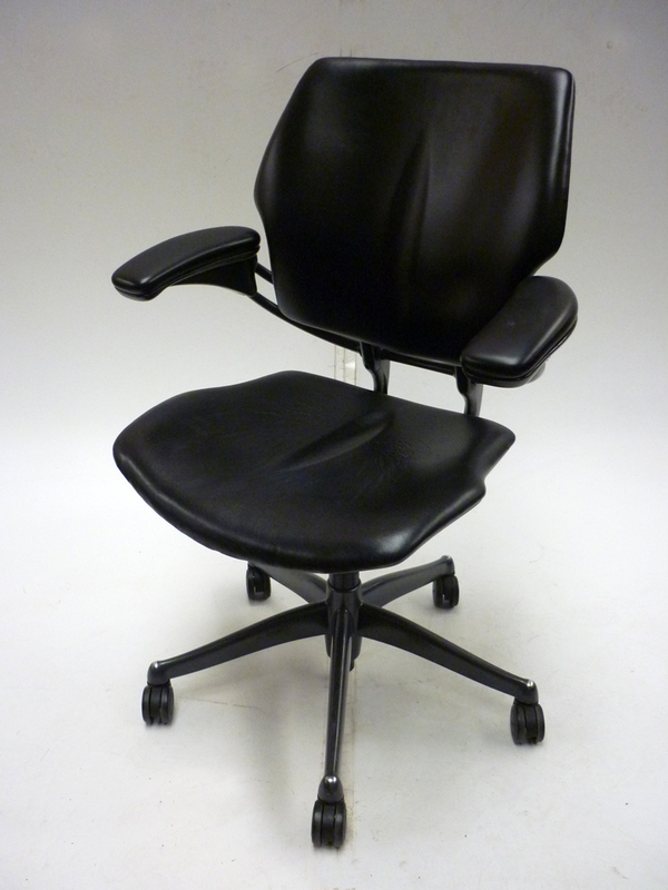 Black leather Humanscale Freedom chair