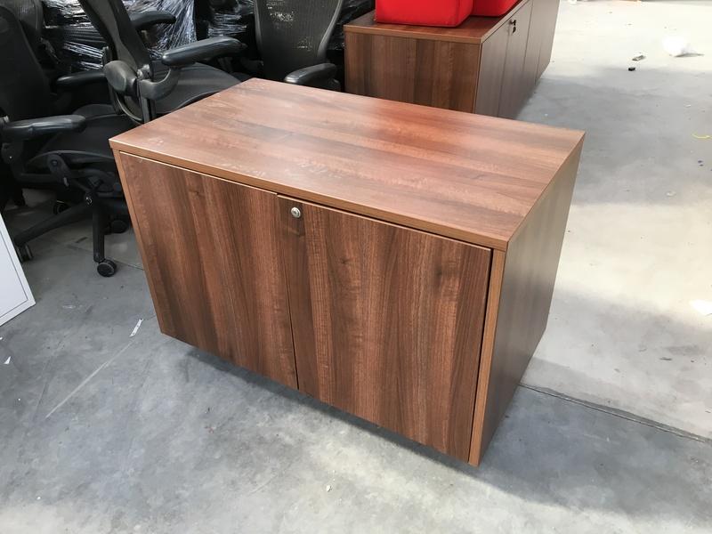 Walnut desk high double door cupboards