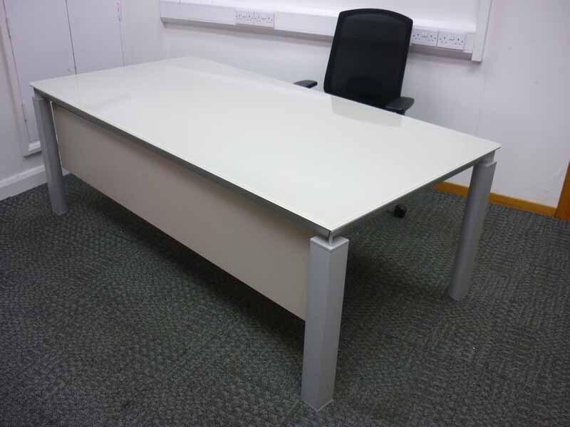 Martex Han cream glass desks
