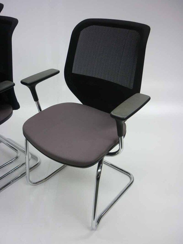 Grey mesh back Orangebox Joy stacking chairs