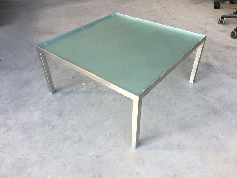 Hitch Mylius 750mm square glass coffee table