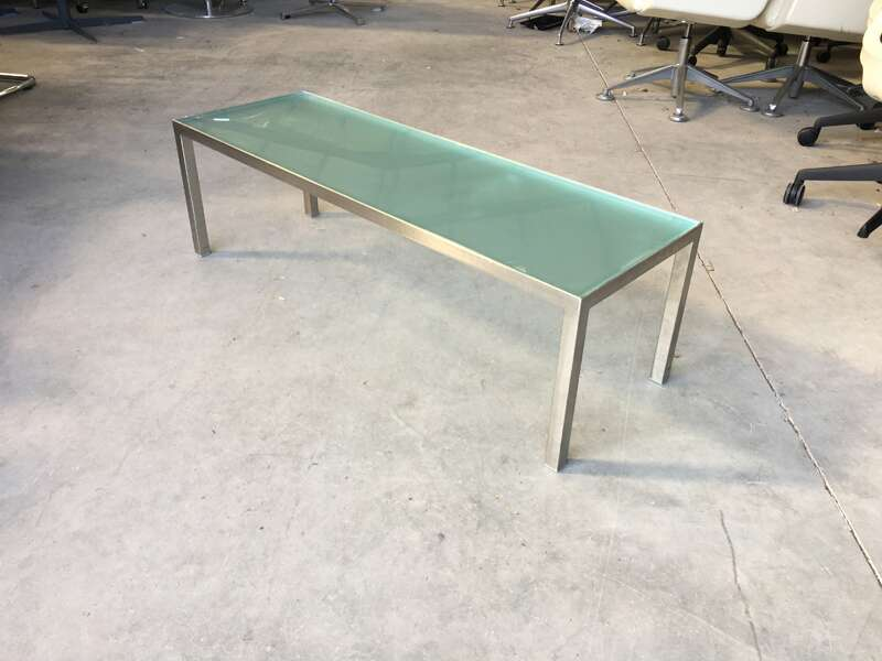 Hitch Mylius 1500x400mm rectangular glass coffee table