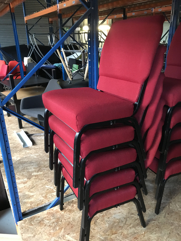 Red stacking church chairs