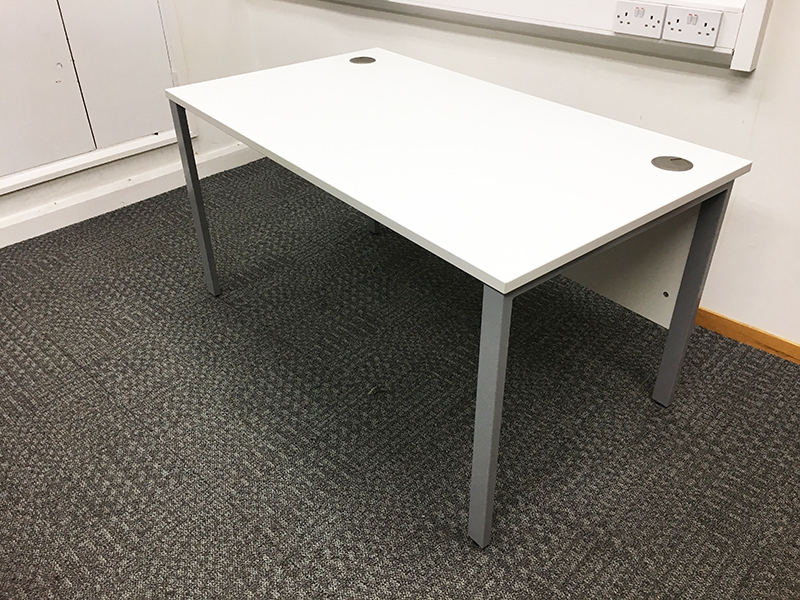 1400 & 1200mm white desks with modesty panel