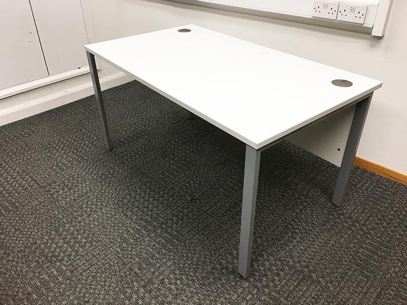 1400 amp 1200mm white desks with modesty panel