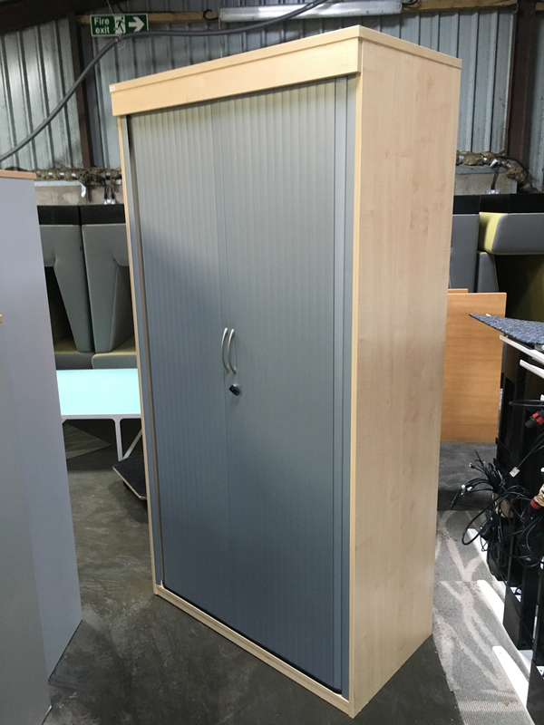 2000mm high maple/silver tambour cupboard