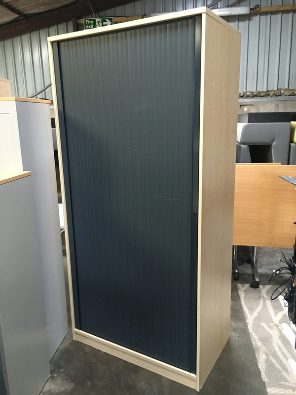 2070mm high maplegraphite tambour cupboard