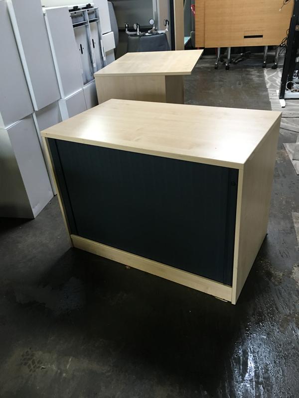Desk high maplegraphite tambour cupboard