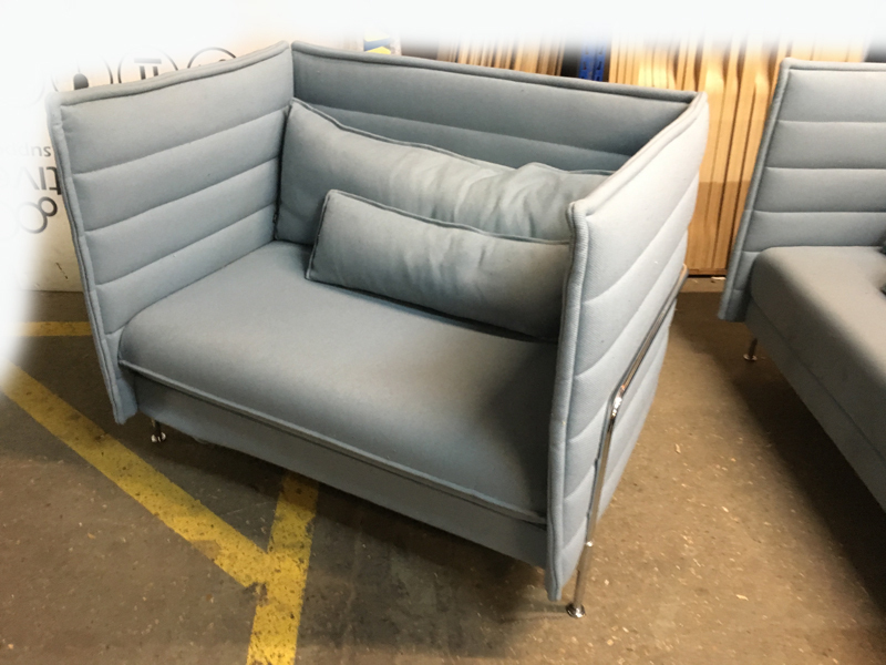 Vitra Alcove Love Seat ice blue chair