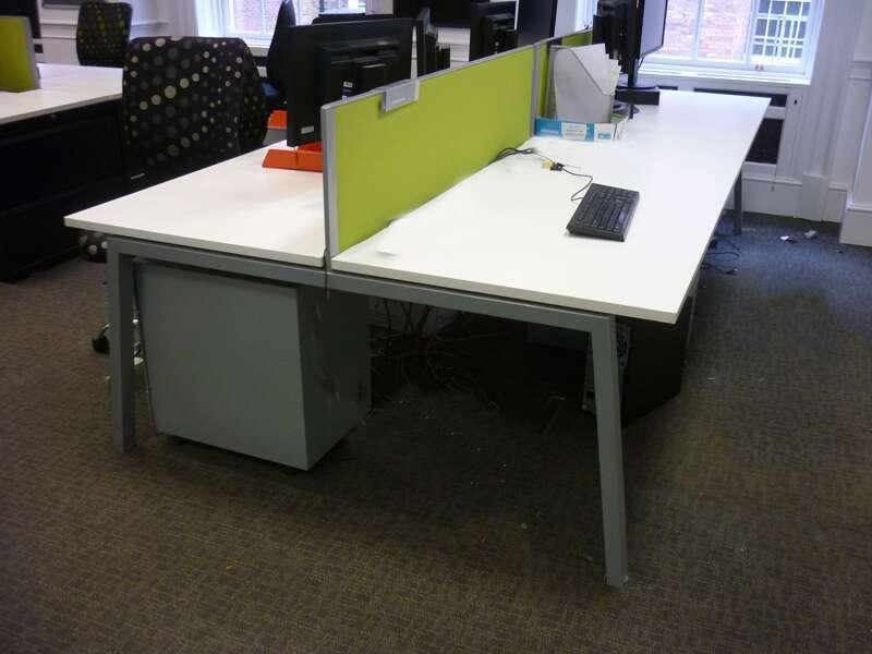 White Elite Linea 1600mm bench desks with silver legs