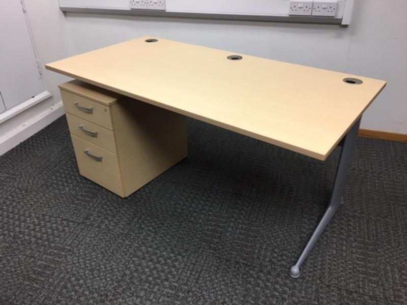 1600x800mm Elite Kassini ash desk and pedestal