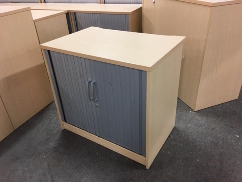 Desk high Elite ash tambour cupboard