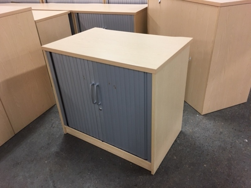 Desk high Elite ash tambour cupboard