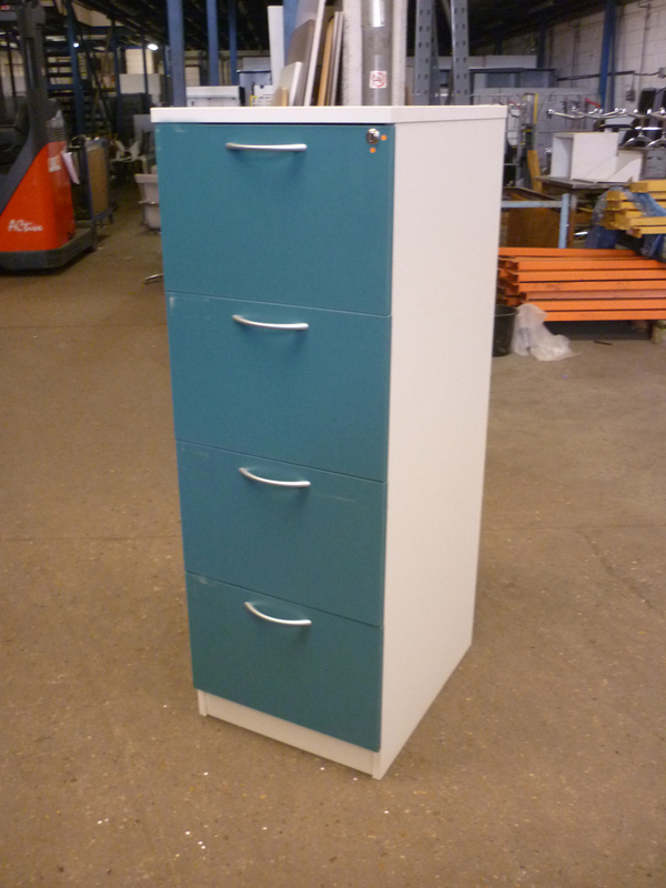 Whiteturquoise wood 4 drawer filing cabinet