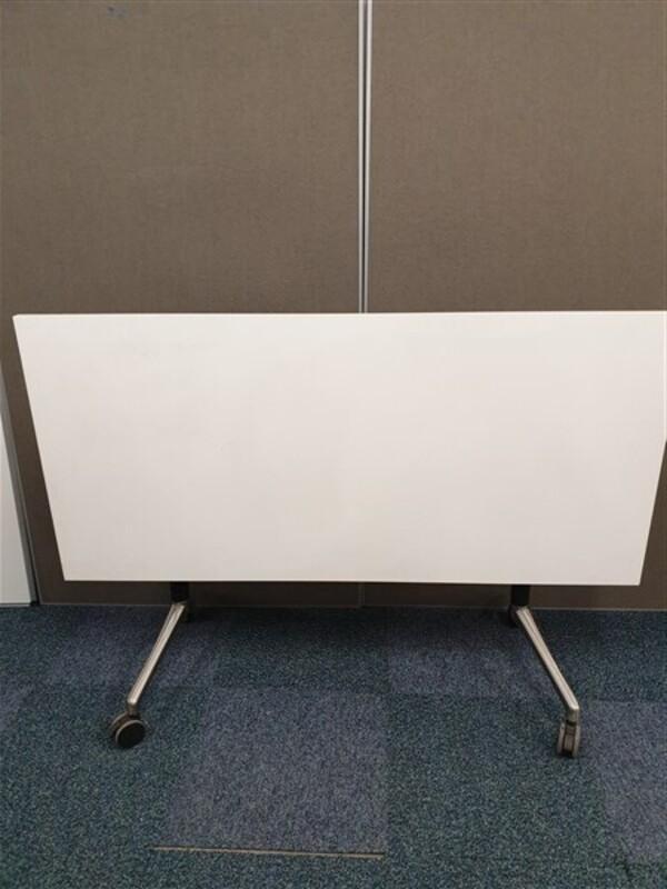 White Top BlackPolished Chrome Frame Table