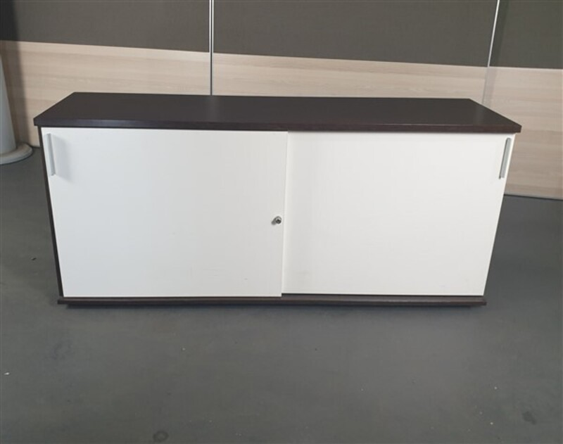 Walnut Credenza with White Doors