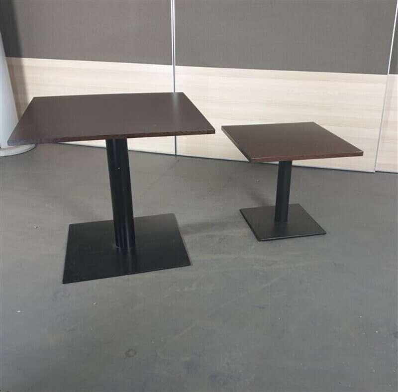 Square Top Walnut Coffee Table Black Base
