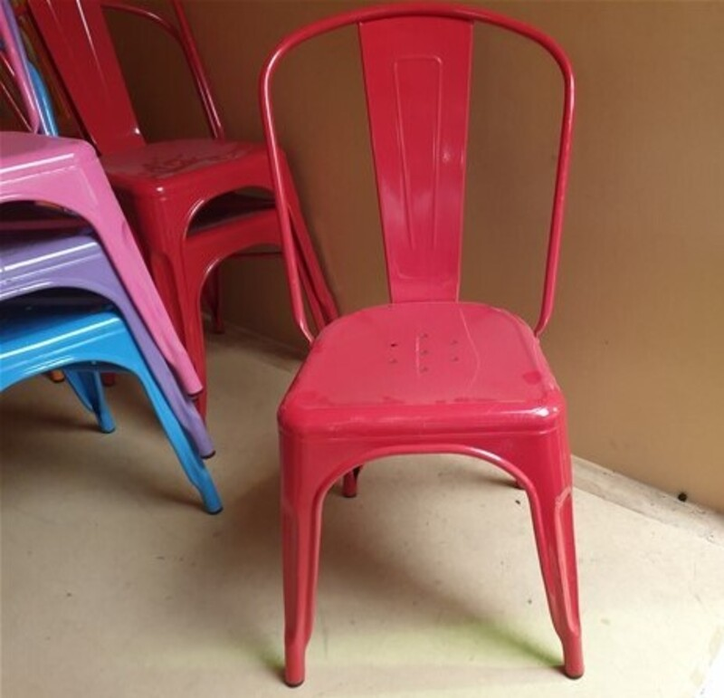 Red Tolix style metal café chairs