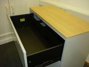 Steelcase grey/oak 3 drawer side filer