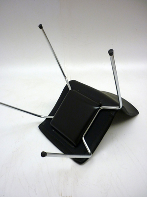 NEW Black leather 4 leg stacking meeting chairs (CE)