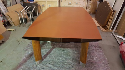 3000 x 1600mm brown leather top barrel shape boardroom table (CE)