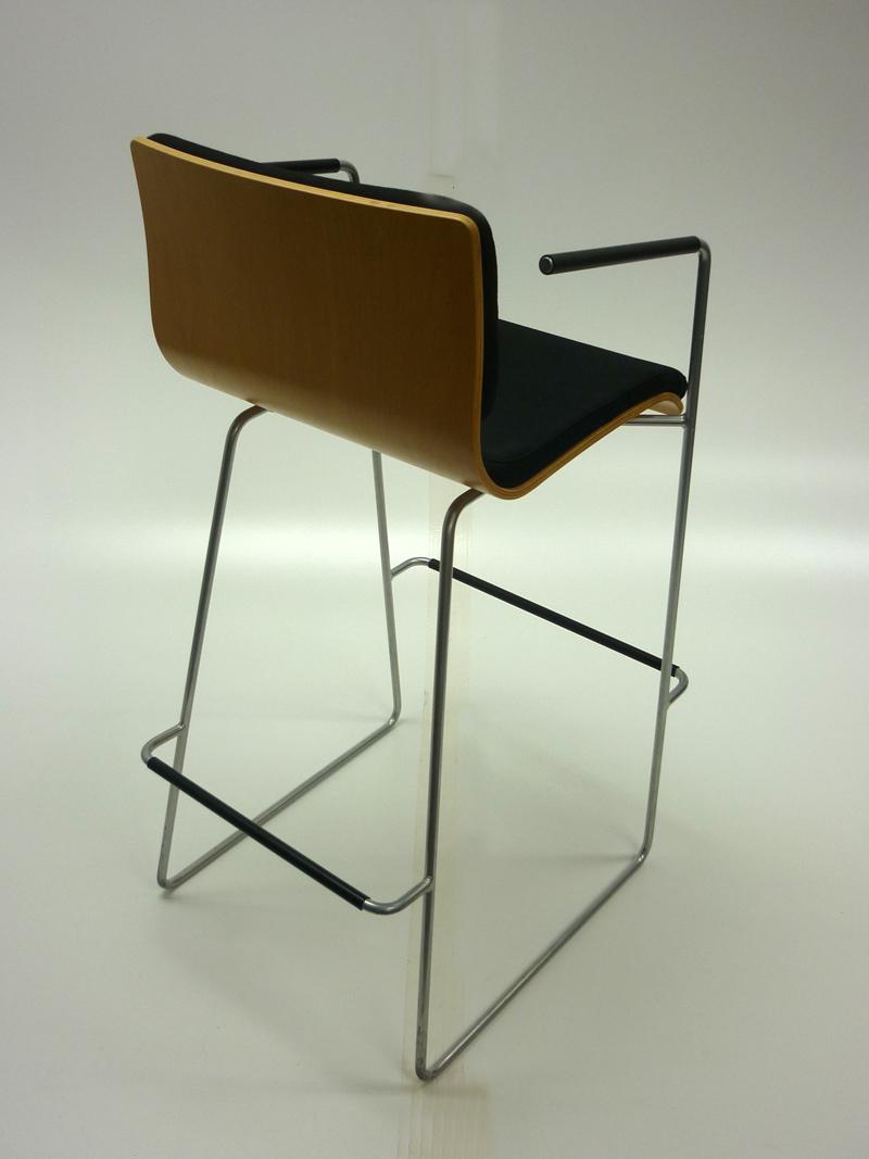 Black fabric/beech plywood high stool