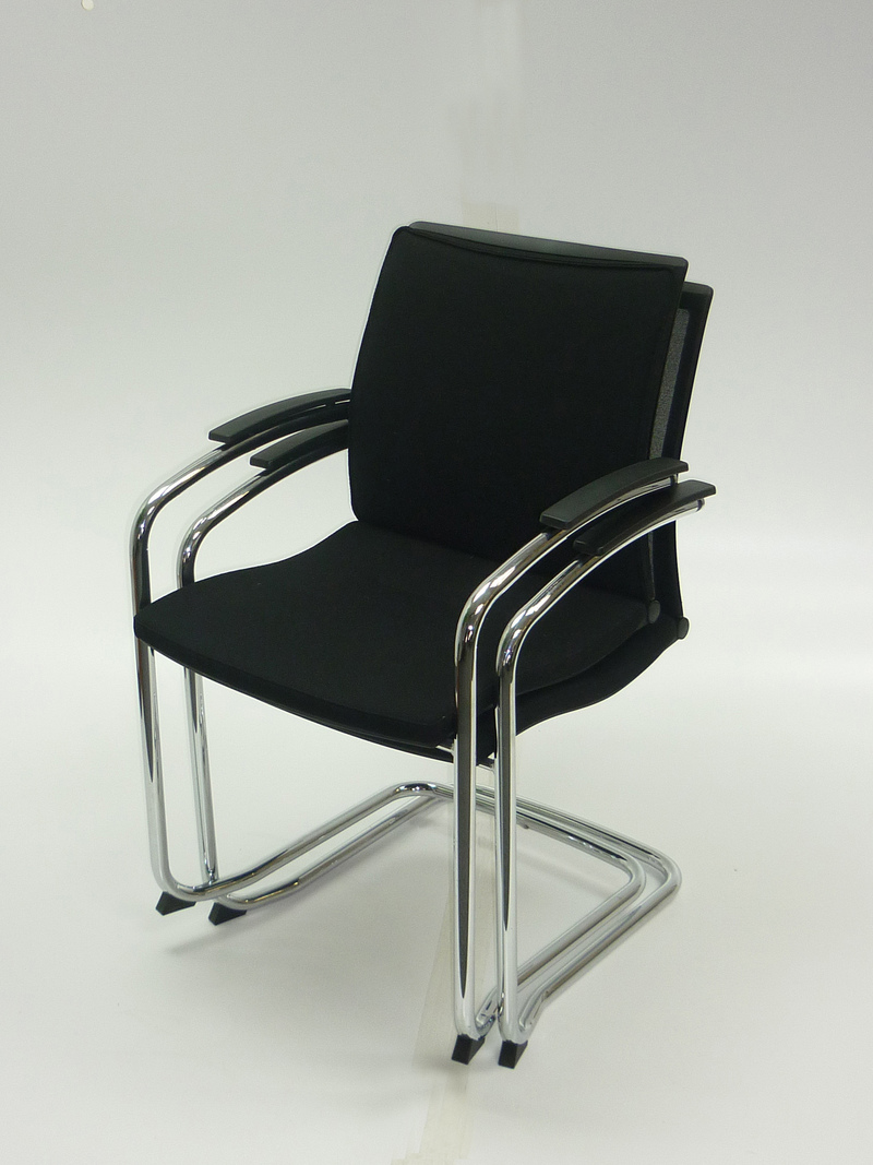 Black mesh back Sedus Open UP stacking meeting chair