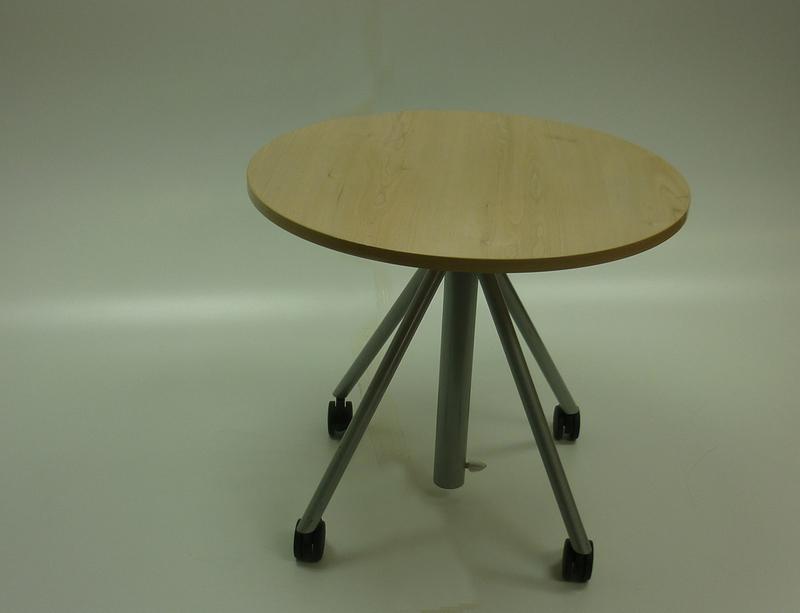 800mm dia Senator maple rise and fall meeting table