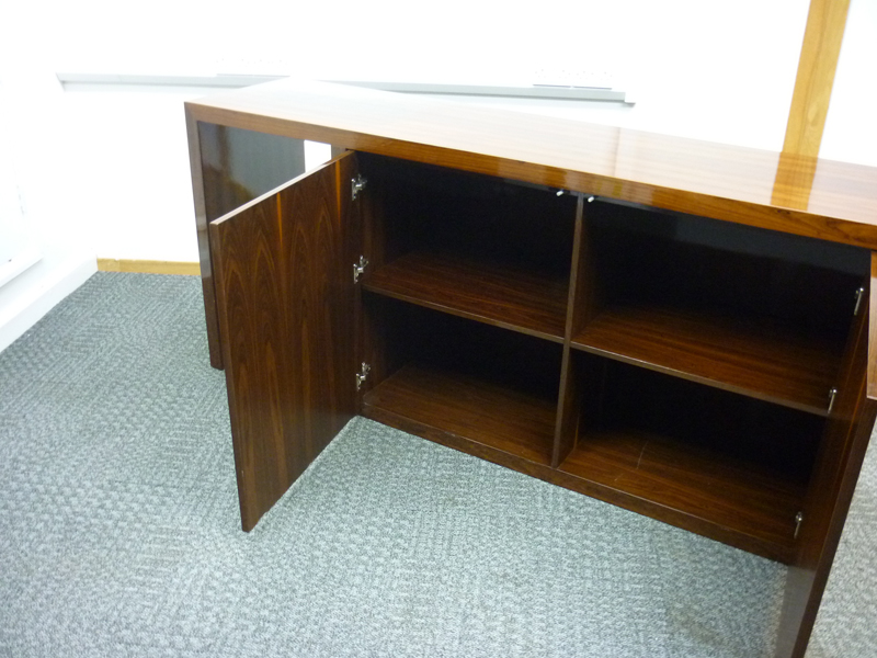 3600x1500mm high gloss walnut veneer table & credenza CE