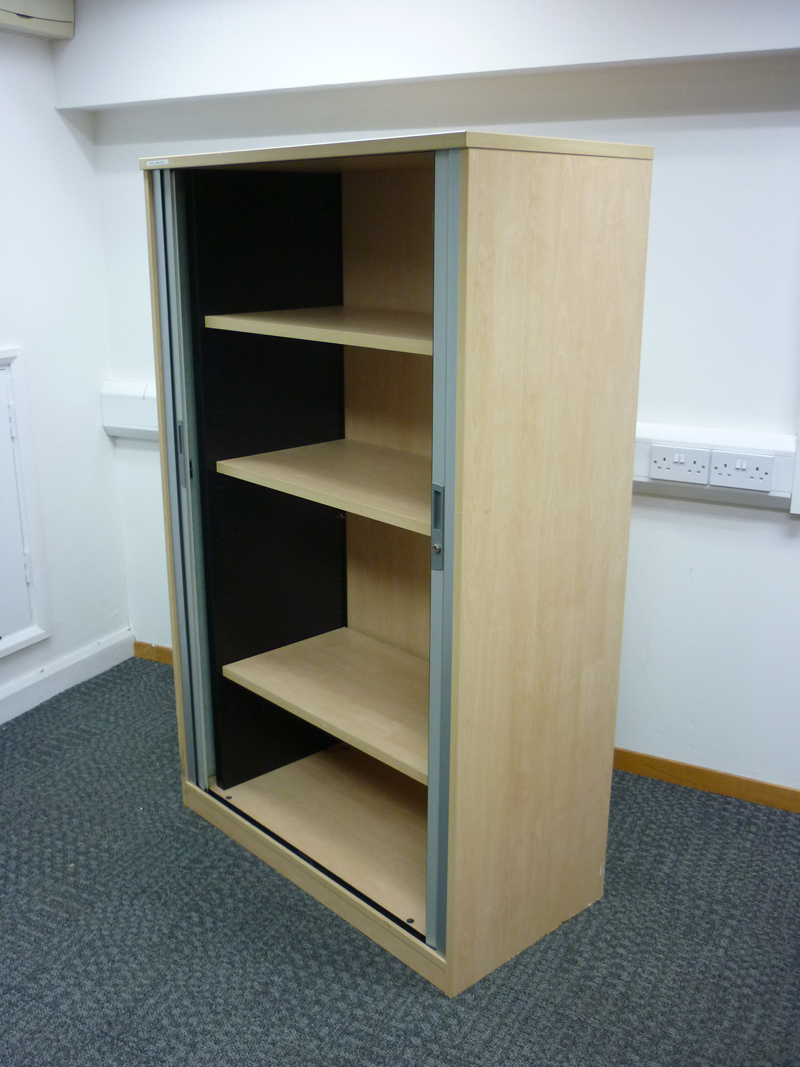 1630mm high Tangent Qore Maple tambour cupboard